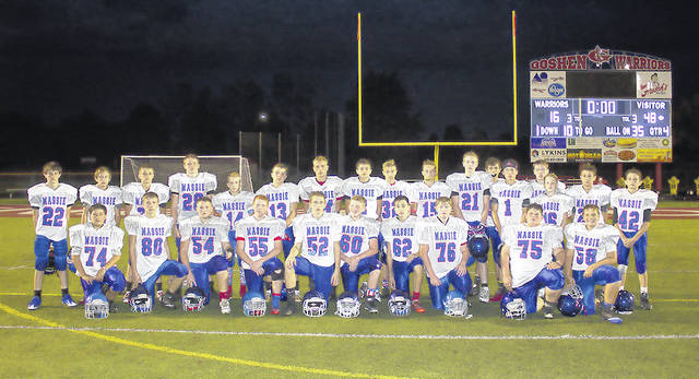 The Clinton-Massie eighth grade football team finished its season unbeaten with an 8-0 record. The Falcons defeated the Goshen Warriors 48-16 in the season finale. Other results for CMHS were Loveland 38-0, Western Brown 44-6, New Richmond 50-0, Chaminade-Julienne 42-12, Bethel-Tate 44-6, Wilmington 38-7. Team members are, from left to right, front row, Ethan Gibson, Dawson Conley, Garrett Vance, Gavin Avey, Charley Hale, Lane Schulz, Nate Wildermuth, Collin Swope, Bryant Pinkerton, Jackson Walker; back row, Matt Martin, Miley Powell, Tyler Keck, Carter Frank, Joey Vance, Blake Ireland, Colton Trampler, Kody Zantene, Garrett Newkirk, Carson VanHoose, Daelin Maple, Cody Barrett, Carter Euton, Nathan Smith, Grant Moorman, Colton Myers, Braden Rolf. Not present for team photo were coaches Josh Trampler and Ridge Sams.
