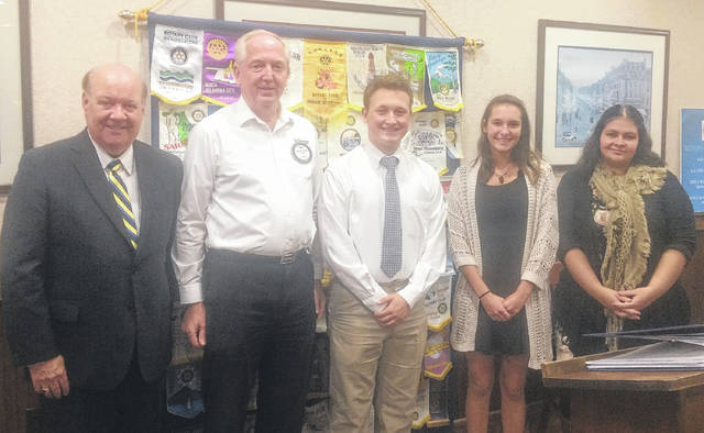 From left are: Pat Haley, Clinton County Commissioner; Bob Schaad, Rotary Club President; Tristan Bosier, East Clinton High School; Sophie Reed, Wilmington High School; and Jamie Wells, Clinton-Massie High School.