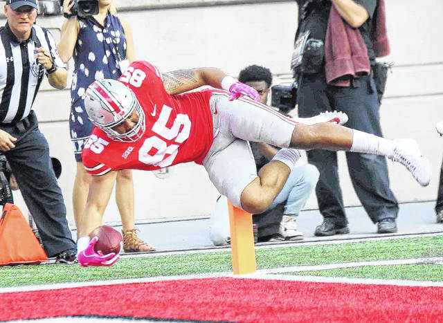 Marcus Baugh (85) has 10 catches this season, nearly matching his career total coming into the season at Ohio State.