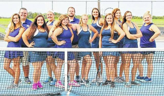 The Blanchester High School tennis team, champions of the Southern Buckeye Athletic & Academic Conference National Division title this fall, will begin competition 8:30 a.m. Thursday in the Div. II sectional tournament at the Lindner Family Tennis Center in Mason. Team members are, from left to right, front row, Erin Wilson, Alexis Vestal, Lilly Tedrick, Grace King, Korie White, Kayla Allen, Taylor Bradley; back row, head coach Matt Sexton, Lexie Winemiller, assistant coach Mike Sexton, Terra Wichterman, Lydia Falgner.
