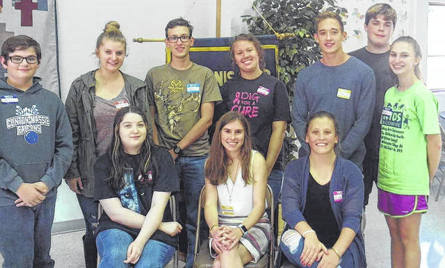 At the Key Club's Fall Rally from left seated in the first row are Erica Wright of Clinton-Massie, Key Club Lt. Gov. Ashley Newbold of Alter High School, and Marah Dunn of East Clinton; from left in the second row are Luke Campbell of Clinton-Massie, Emily Tong of East Clinton, Ryan Miller of Clinton-Massie, Maddy Adkins of Wilmington High School (WHS), Drew Spendlove of WHS, and Mackenzie Snarr of WHS; and in the back right is Myles Forste of WHS.
