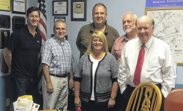 The Board of Clinton County Commissioners held joint meetings recently with the Board of Marion Township Trustees. From left are Clinton County Commissioners President Kerry R. Steed, Marion Township Trustee Greg Hefner, Clinton County Commissioner Brenda K. Woods, Marion Township Trustees Gary Moore and George Cook, and Clinton County Commissioner Patrick Haley.