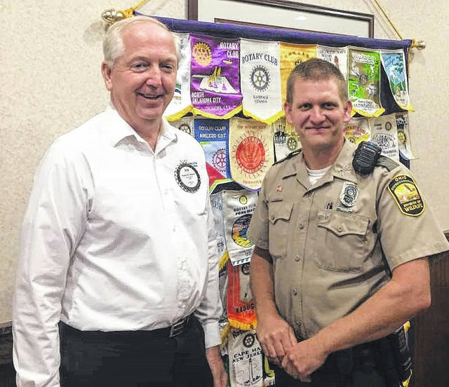 Bob Schaad, President of the Wilmington Rotary Club, and Matt Roberts, Wildlife Officer with Ohio Department of Natural Resources.