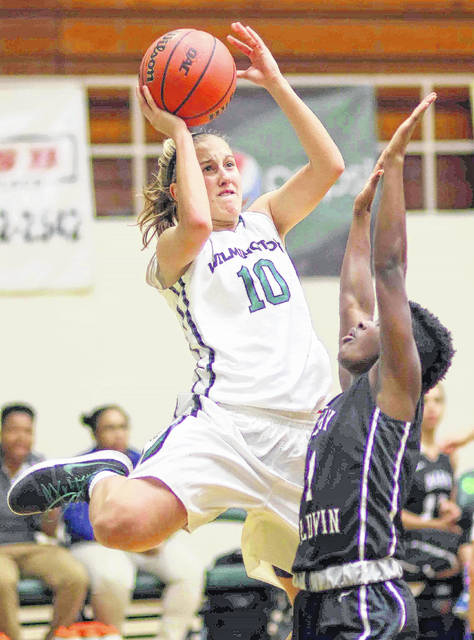 Wilmington College freshman McKayla Binkley (10) had 15 points in the Quakers 85-74 win over Spalding in the title game of the Damon's/Hampton Inn Tip-Off Tournament at Fred Raizk Arena.