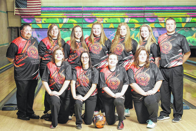 The Wilmington High School girls bowling team, from left to right, front row, Katy Allen, Katie Hottinger, Gabby Burger, Nicole Gallion; back row, head coach Josh Fisher, Melanie Taylor, Sydney Shumaker, Ariel Comberger, Megan Brooks, Annie Newberry, assistant coach Joe Gigandet.