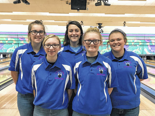 The Clinton-Massie High School girls bowling team, from left to right, front row, Ashley Gross, Brittany Fry; back row, Emily Rager, Jennifer Callewaert, Ashley Murphy.