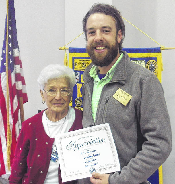 Eric Guindon, Director of Clinton Council Youth Council, was program guest speaker at the Thursday Wilmington Kiwanis Club meeting. He spoke about the future goals and programs and the free after-school tutoring program for middle and high school students of Clinton County. Shown is Past Club President Ruth Curtis with Guindon. The Kiwanis Club meets the first and third Thursdays of each month at the Wilmington Presbyterian Church. Contact Ron Johnson at 937-289-7226 for more information.