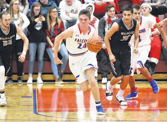 Clinton-Massie's Griffin Laake leads a fast-break during Thursday's game against Blanchester.