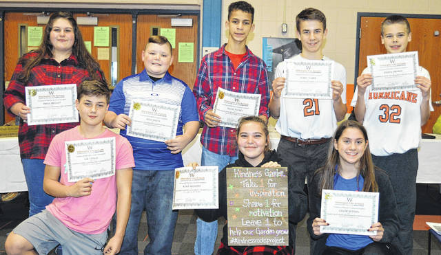 These Wilmington Middle School Student Council members are recognized during the school board meeting. From left in the front row are Lee Lynch, Kara Sizemore and Chloe Sutton; and from left in the back row are Emma Bryant, Alex Smith, Dada Nance, Avery Warix and Ethan Henson.
