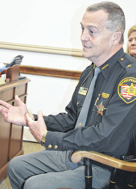Clinton County Sheriff Ralph Fizer Jr. talks budget with the Clinton County commissioners on Wednesday.