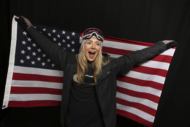 FILE - In this Sept. 26, 2017, file photo, United States Olympic Winter Games slopestyle skier Maggie Voisin poses for a portrait at the 2017 Team USA Media Summit, in Park City, Utah. Voisin has already qualified for her second Olympics. Now, the goal is to compete in her first. (AP Photo/Rick Bowmer, File)