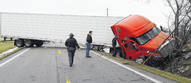 The Ohio State Highway Patrol responded to an accident involving a semi-truck at 1:28 p.m. on Sunday. According to Sgt. Jeremy Grillot, the driver was traveling north on I-72 when he skidded off the right side, overcorrected, and ended up in the ditch on the left side. No injuries were reported and the vehicle was eventually towed.