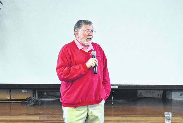 """Randy Riley speaks at the Relay for Life kickoff meeting on Saturday at the United Methodist Church. Clayton Earley walks with """"Pappy"""" Randy Riley during the 2016 Relay for Life."""