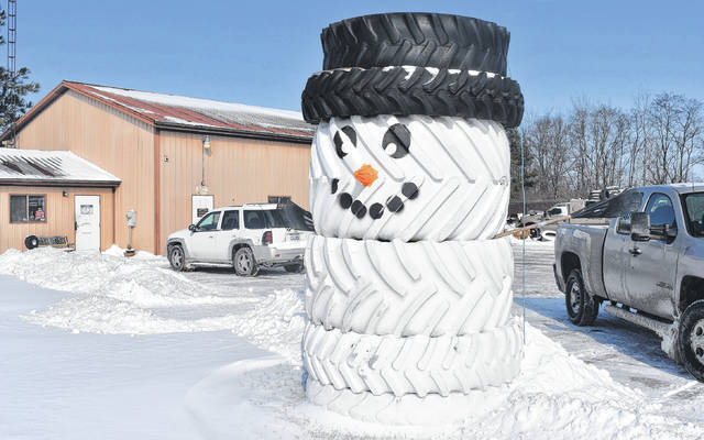 Many folks around here are ready for the cold and snow to go away, but this smiling snowman constructed of large tires outside Groves Tire & Service LLC near Wilmington will remain a welcome sight after the thaw. You may also recognize him from a HoliDazzle parade float.