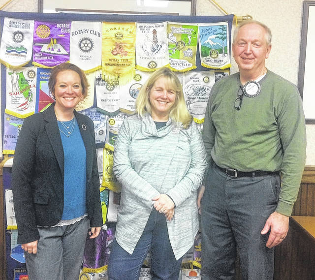 Ruth Brindle and Darcy Reynolds, Co-Directors of Main Street Wilmington, and Bob Schaad, President of the Wilmington Rotary Club.