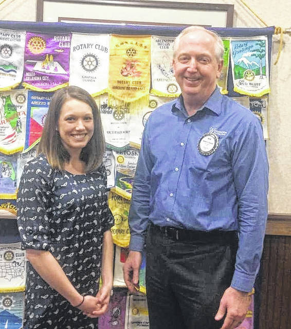 Kaity Stuckert, Marketing Director for the Wilmington-Clinton County Chamber of Commerce, and Bob Schaad of the Wilmington Rotary Club.