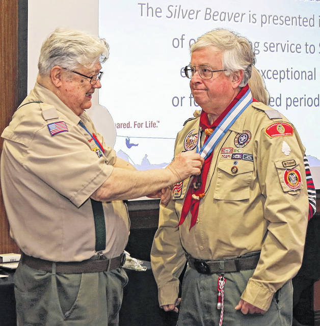 Volunteer District Commissioner Robert Burgy was recognized for his service to Scouting Saturday evening at the Soin Medical Center in Beavercreek.