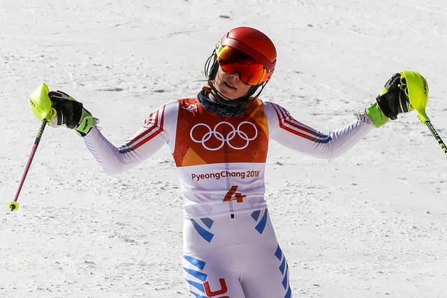 Mikaela Shiffrin, of the United States, reacts to her time during the second run of the women's slalom at the 2018 Winter Olympics in Pyeongchang, South Korea, Friday, Feb. 16, 2018. (AP Photo/Morry Gash)