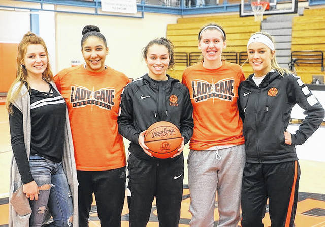 WHS senior girls basketball players, from left to right, Faith Sanderson, Leah Frisco, Katlyn Jamiel, Heather Fryman, Suzannah Johns.