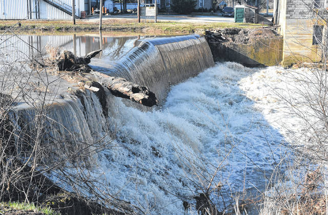 Water continued to rush over the stone dam next to Joe Beam & Sons Mill in Port William Monday after the deluge of rain last week. Tuesday's forecast is for the second straight day of dry and mostly sunny weather in Clinton County, but a bit of rain may return Wednesday and Thursday.