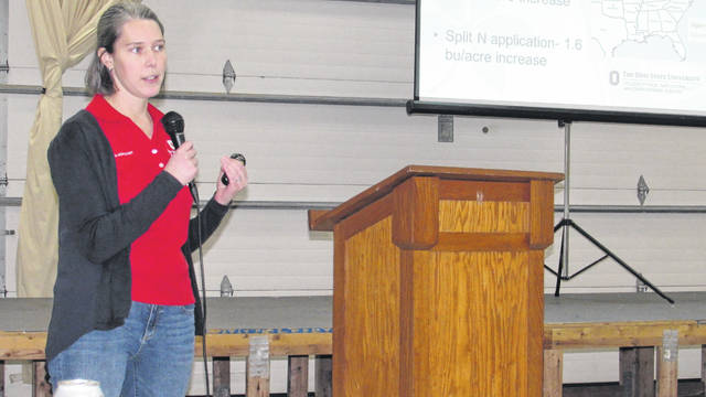 The Southwest Ohio Corn Growers held its annual meeting and Agronomy Day Tuesday at the Clinton County Fairgrounds. More than 60 southern Ohio farmers attended the event and heard a variety of speakers from Ohio State University Extension talk about current agriculture and farming issues. OSU soybean and small grain specialist Laura Lindsey is pictured giving an update on soybean field trials and yield results throughout the state, including Clinton County.
