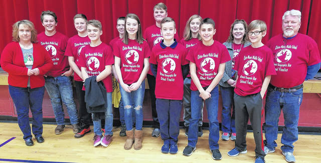 Clinton-Massie Middle School recently held a Geography Bee competition. Here are the 10 school finalists and CMMS Social Studies teachers. From left in the front row are 6th-grade Social Studies teacher Betsy Wellman, Malachi O'Leary, Abbey Steed, Micah Wissman, Ethan Johnson, Jarren Gale and 8th-grade American History teacher Jim Wagner; and from left in the back row are school champion Joey Kocher, Owen Trick, Jacob Conard, runner-up Ben Smith, Luke Goodwin and 7th-grade Social Studies teacher Jen Henderson.