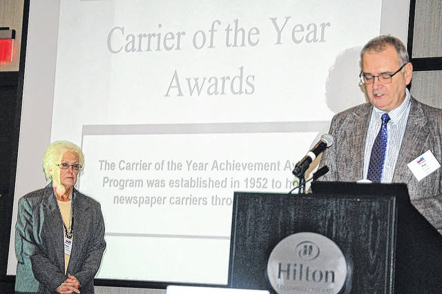 Freda Edwards, who has been a newspaper carrier for 40 years for the News Journal, was honored as Senior Carrier of the Year at the recent annual Ohio News Media Association awards in Columbus. The Sabina resident hasn't missed a day of work during those 40 years, according to WNJ Circulation Manager Dawn Gunkel, who nominated her. Gunkel said that Freda is also a huge help to her both inside and outside, assisting with down routes and helping out other carriers. Freda is also known around Sabina and at local nursing homes (as well as by News Journal staff) for her baking prowess, especially her pies and cookies. Congratulations Freda!