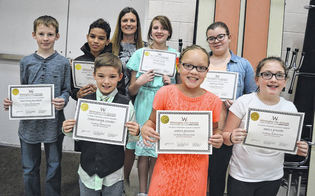 The Kindness Ninjas, who were present for the photo, are first row from left Chris Lindsey, Amiya Rollins and Jerica Knauff; second row from left are Matthias Brausch, Devon Diggs, Shelby Cook and Makenna Ward; and in the back is group advisor Brook McCoy.