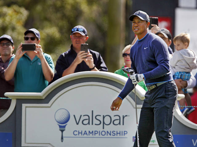 Tiger Woods watches his tee shot on the 14th hole  at Innisbrook's Copperhead course during the pro-am at the Valspar Championship golf tournament, Wednesday, March 7, 2018, in Palm Harbor, Fla (Jim Damaske/Tampa Bay Times via AP)