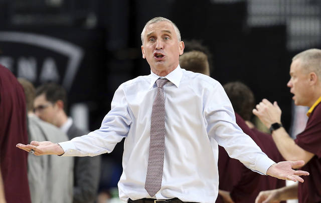 Arizona State head coach Bobby Hurley questions a call during the second half of an NCAA college basketball game against Colorado in the first round of the Pac-12 men's tournament Wednesday, March 7, 2018, in Las Vegas. Colorado defeated Arizona State 97-85. (AP Photo/Isaac Brekken)