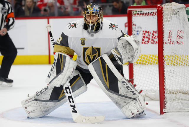 FILE - In this March 8, 2018, file photo, Vegas Golden Knights goaltender Marc-Andre Fleury (29) plays against the Detroit Red Wings in the second period of an NHL hockey game, in Detroit. The Vegas Golden Knights seemingly made all the right decisions to turn their expansion season into a special one. Marc-Andre Fleury has made one move look brilliant. No one expected the Pacific Division-leading Golden Knights to be this good this season, building the largest lead by a first-place team with less than a month left in the regular season. (AP Photo/Paul Sancya, File)
