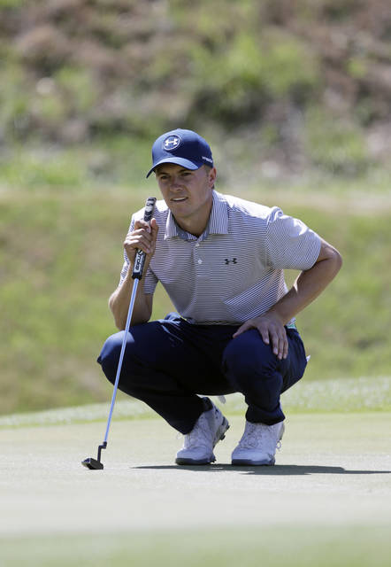 Jordan Spieth lines up his putt on the 16th hole during round-robin play at the Dell Technologies Match Play golf tournament, Wednesday, March 21, 2018, in Austin, Texas. (AP Photo/Eric Gay)