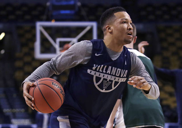 Villanova's Jalen Brunson drives during practice at the NCAA men's college basketball tournament in Boston, Thursday, March 22, 2018. Villanova faces West Virginia in a regional semifinal on Friday night. (AP Photo/Charles Krupa)