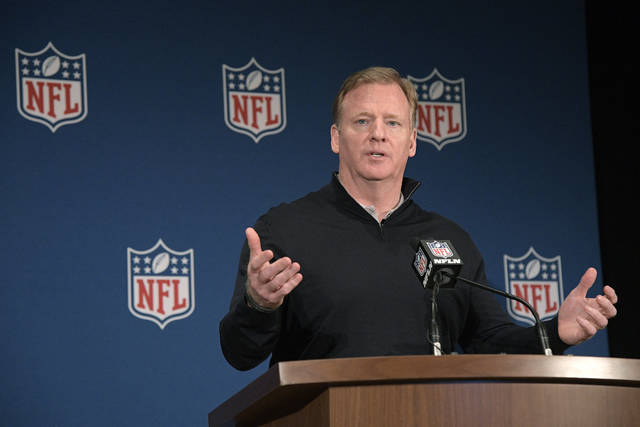Commissioner Roger Goodell answers a question from a reporter during a news conference at the NFL owners meetings, Wednesday, March 28, 2018, in Orlando, Fla. (Phelan M. Ebenhack/AP Images for NFL)