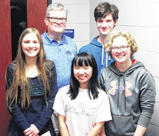 Several CM academic team members received all-league honors including, from left,Amelia Binau, Co-Coach of the Year Gil Farr, Caroline Rhude, Lukas Whittamore, and Abby George.