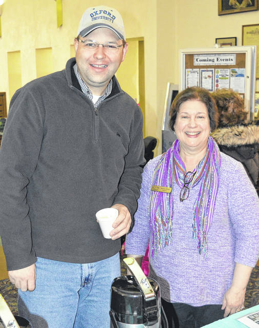 Wilmington Public Library Director Nancy Ehas is retiring from that position effective Friday of this week. She is shown with Jonathan McKay during Saturday's Community Easter Egg Hunt activities at the library.