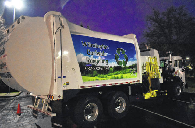 The city's new recycling truck fully paid for by the Ohio EPA grant.