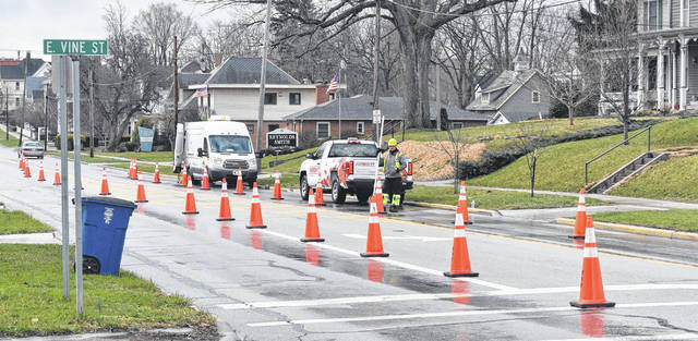Natural gas company Vectren does survey work on a cold morning this week on North South Street in Wilmington. City Safety/Service Director Brian Shidaker told the News Journal the work is in preparation for Vectren's upcoming gas line project, which includes taking videos/photos inside the sewer line.