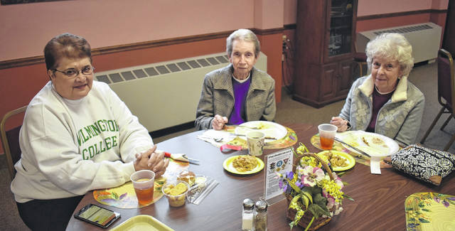 From left, Sandra Weaver, Tilly Lenze, and Norma Sherod enjoy the Lenten Lunch at the Wilmington United Methodist Church on Wednesday. The Wednesday lunches continue on March 14 (through March 28) with turkey and stuffing, mashed potatoes and gravy, green bean casserole, roll and butter plus pumpkin dessert on next Wednesday's menu.