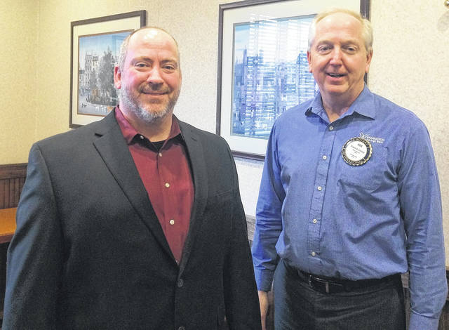 From left are Matt Purkey from the General Denver Hotel and Bob Schaad, President of the Wilmington Rotary Club