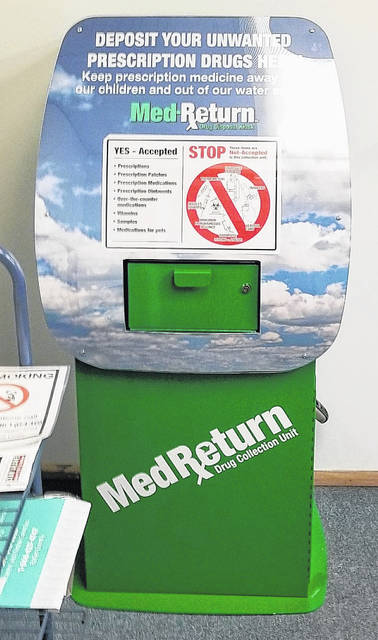 This is the new medication disposal box in Sabina, located at the Sabina Police Department in the village municipal building.