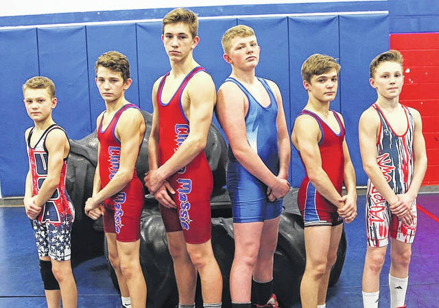 Clinton-Massie junior high wrestling qualified seven to the prestigious 2018 OAC State Championships March16-18 in Youngstown. They will also be competing in the first OAC State Divisional Championship March 4 in Marysville. Pictured from left are Cole Moorman, Braden Rolf, Charley Hale, Lane Schulz, Malachi O'Leary, and Grant Moorman. Not pictured is Bryant Pinkerton.