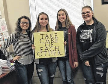 Student leaders that organized Wednesday's event at Wilmington High School were, from left, Hailey Reynolds, Kylie Bayless, Aubree Trusty and Samantha Davidson.