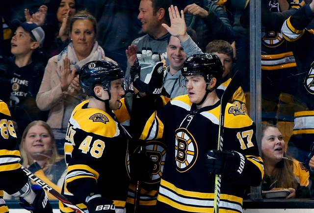 FILE - In this March 31, 2018, file photo, Boston Bruins' Ryan Donato (17) celebrates his goal with teammate Matt Grzelcyk (48) during the second period of an NHL hockey game against the Florida Panthers in Boston. It's becoming more common for NHL teams out of the playoff race to sign top prospects and plug them into the lineup late in the season. This year, the Bruins are doing it with Ryan Donato. (AP Photo/Michael Dwyer, File)