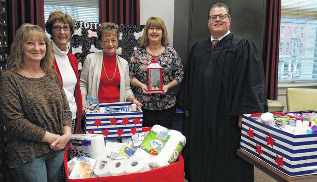 From left are Clinton County Veterans Services representative Jeanie Longstreth, Clinton County Juvenile Court Mediation Coordinator Margie Eads, Clinton County Probate Court Deputy Clerk Joy McGowan, Fiscal Officer Georgia Carr, and Clinton County Juvenile and Probate Judge Chad L. Carey.
