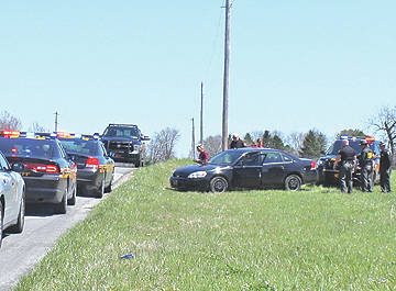 A vehicle that a Hillsboro man allegedly led police on a chase in is shown where it stopped on Stoney Point Road near the intersection of SR 138.