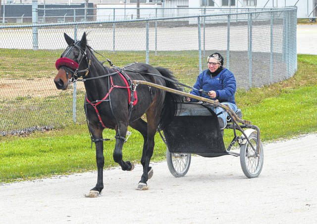 A driver and trotter got in some practice on a cool Saturday afternoon at the Clinton County Fairgrounds.