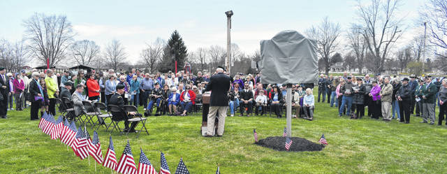 A large crowd gathered at J.W. Denver Williams Jr. Memorial Park on Saturday for the dedication of the Ohio Historical Marker commemorating the military air crash in 1964.
