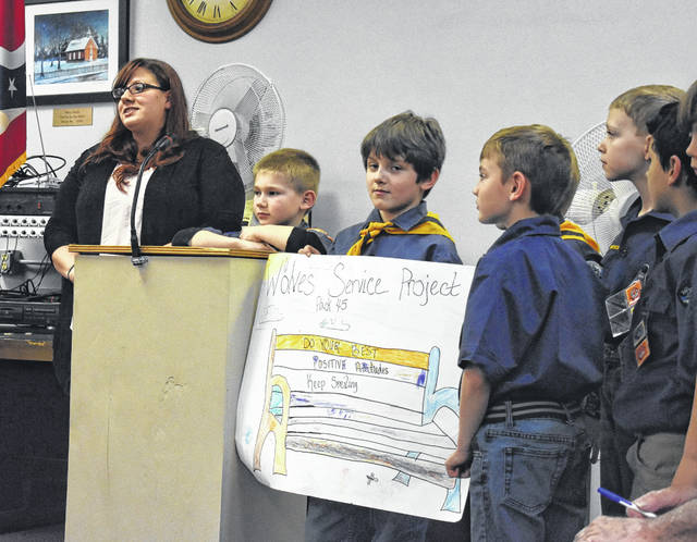Blanchester Cub Scouts Pack 45 and its Den Leader Bev Johnson share what their community project is at Thursday night's council meeting.