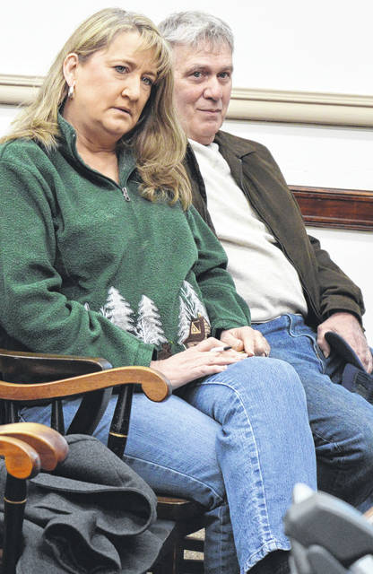 "Pauline ""Shay"" and Herman Doak attend a discussion Wednesday between Clinton County commissioners and their legal counsel regarding a decommissioned communications tower on county-owned land that's next to property owned by the Doaks."